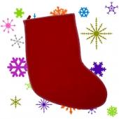 Мешок для новогодних подарков - бордовый носок, Арт.№008