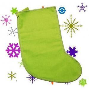 Мешок для новогодних подарков - зеленый носок, Арт.№009