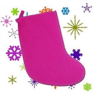 Мешок для новогодних подарков - малиновый носок, Арт.№007